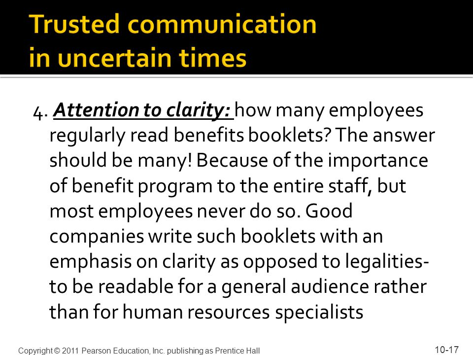 4. Attention to clarity: how many employees regularly read benefits booklets.