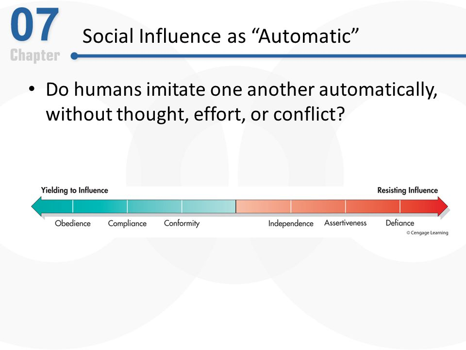 Social Impact Theory Social influence depends on three factors: – The strength of the source – The immediacy of the source to the target in time and space – The number of sources