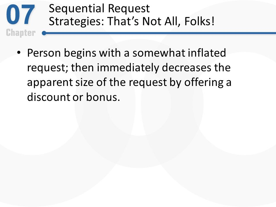 Sequential Request Strategies: That's Not All, Folks.