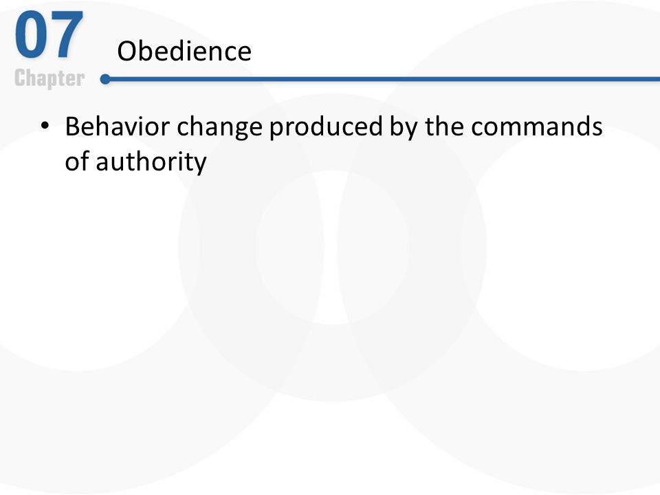 Obedience Behavior change produced by the commands of authority
