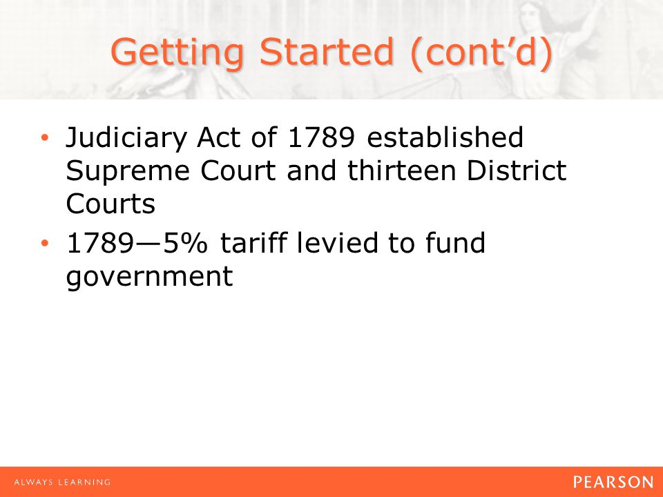 Getting Started (cont'd) Judiciary Act of 1789 established Supreme Court and thirteen District Courts 1789—5% tariff levied to fund government