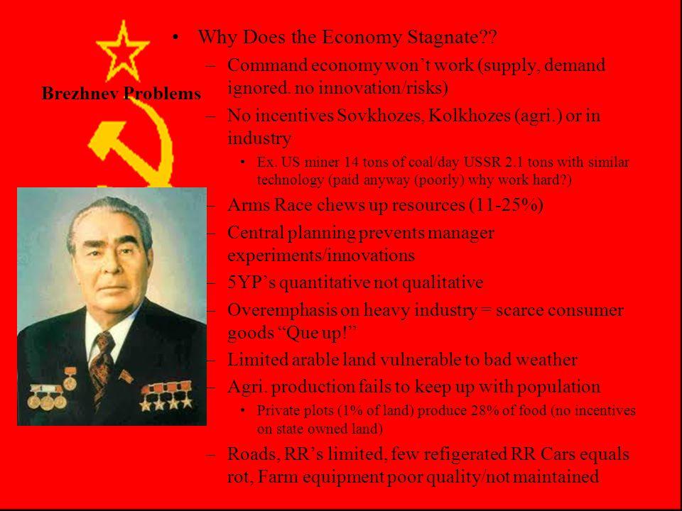 Brezhnev Problems Economic Stagnation –Failures under Brezhnev (con't) Indicators of failure –Living standards still behind the West –Even behind some
