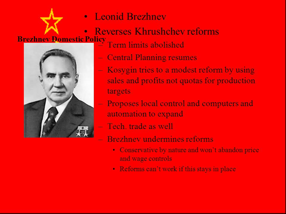 Brezhnev Problems Was Brezhnev truly at fault??.Did he represent what the Party wanted.