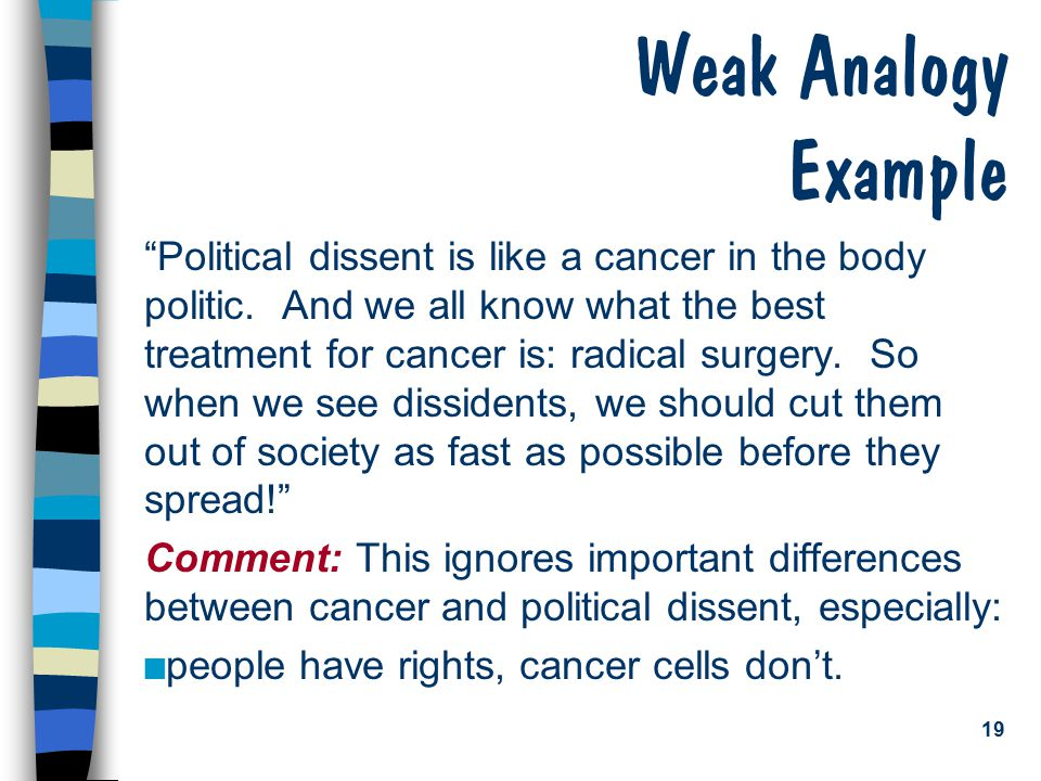"19 Weak Analogy Example ""Political dissent is like a cancer in the body politic. And we all know what the best treatment for cancer is: radical surger"