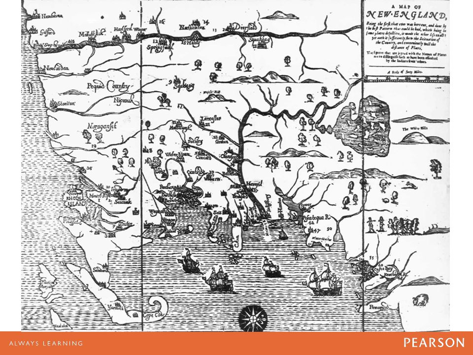The first map printed in the English colonies, this view of New England was published in Boston in 1677