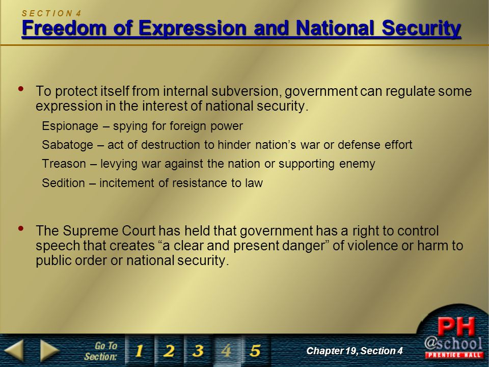 Freedom of Expression and National Security S E C T I O N 4 Freedom of Expression and National Security To protect itself from internal subversion, government can regulate some expression in the interest of national security.