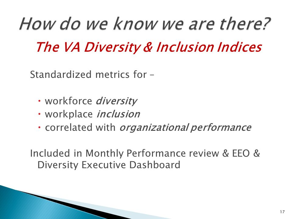 The VA Diversity & Inclusion Indices Standardized metrics for –  workforce diversity  workplace inclusion  correlated with organizational performance Included in Monthly Performance review & EEO & Diversity Executive Dashboard 17