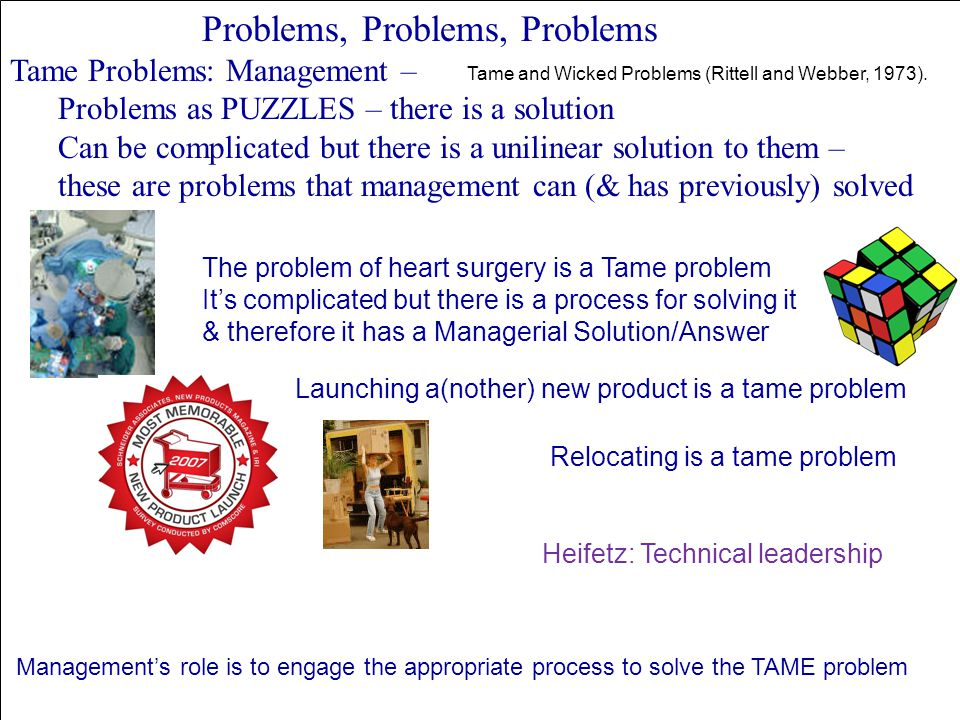 Problems, Problems, Problems Tame Problems: Management – Problems as PUZZLES – there is a solution Can be complicated but there is a unilinear solutio