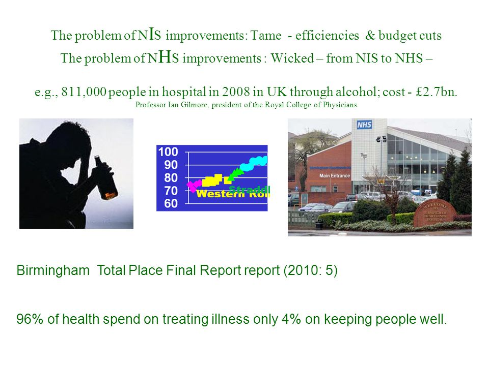 The problem of N I S improvements: Tame - efficiencies & budget cuts The problem of N H S improvements : Wicked – from NIS to NHS – e.g., 811,000 peop