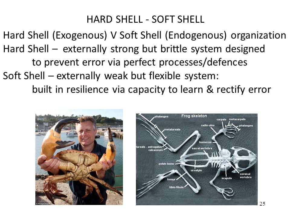 Hard Shell (Exogenous) V Soft Shell (Endogenous) organization Hard Shell – externally strong but brittle system designed to prevent error via perfect