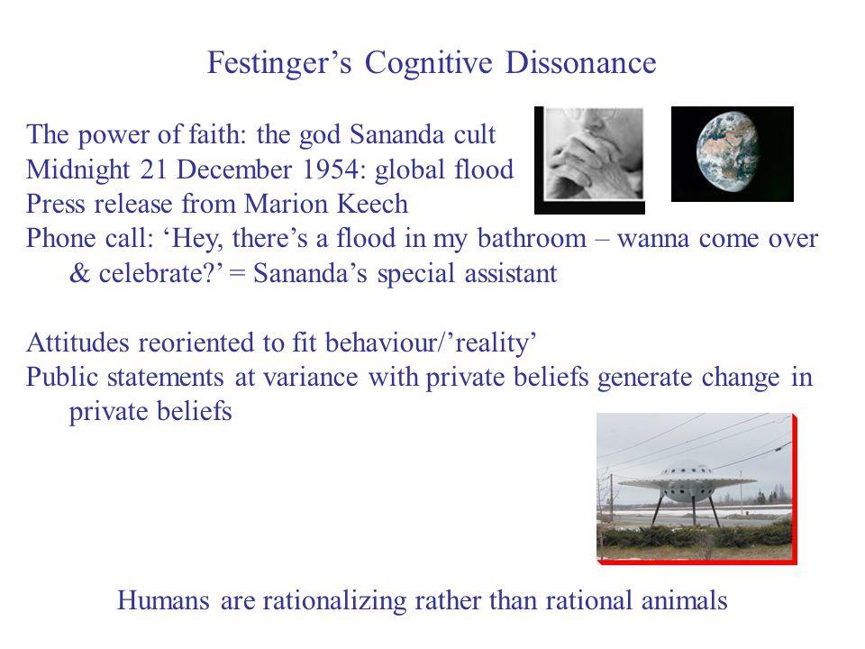 Festinger's Cognitive Dissonance The power of faith: the god Sananda cult Midnight 21 December 1954: global flood Press release from Marion Keech Phon