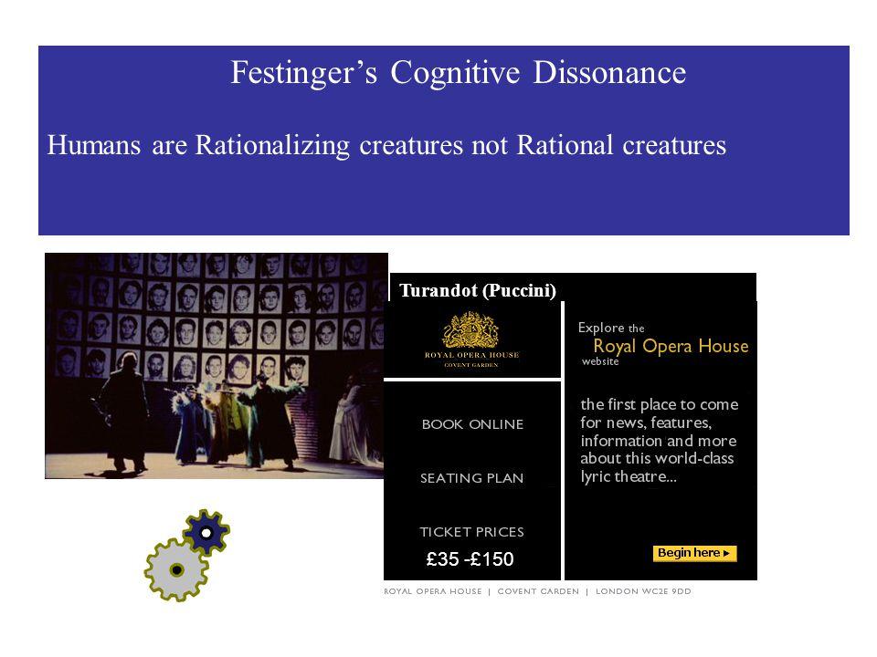 Festinger's Cognitive Dissonance Humans are Rationalizing creatures not Rational creatures Turandot (Puccini) Designer : Paul Steinberg £35 -£150