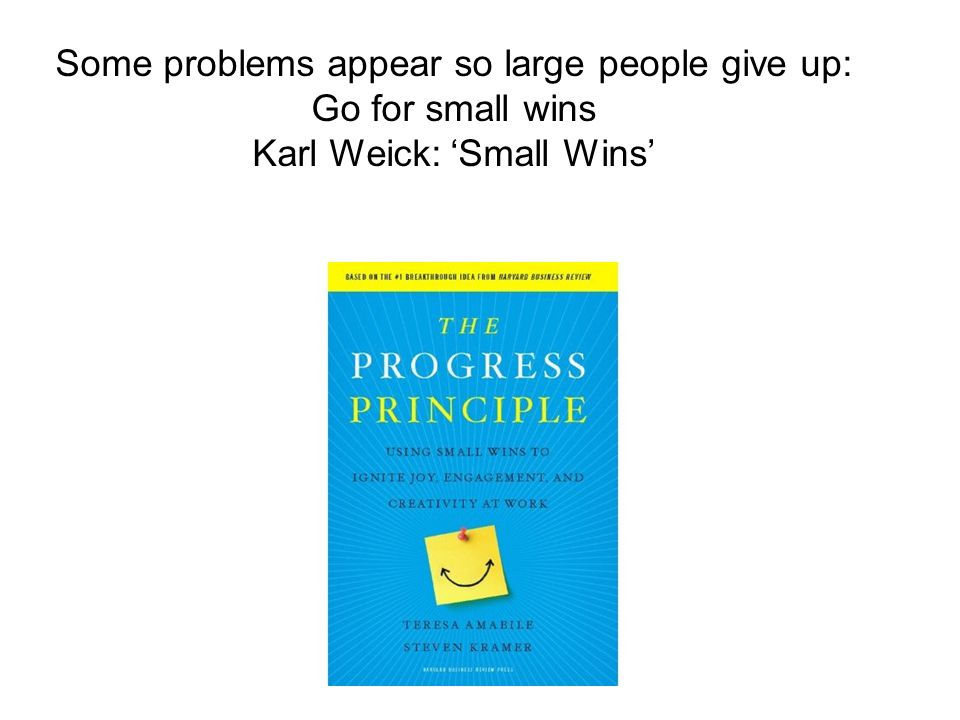 Some problems appear so large people give up: Go for small wins Karl Weick: 'Small Wins'