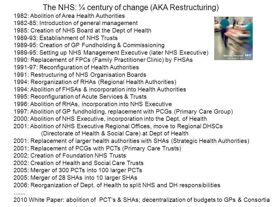 The NHS: ¼ century of change (AKA Restructuring) 1982: Abolition of Area Health Authorities 1982-85: Introduction of general management 1985: Creation of NHS Board at the Dept of Health 1989-93: Establishment of NHS Trusts 1989-95: Creation of GP Fundholding & Commissioning 1989-95: Setting up NHS Management Executive (later NHS Executive) 1990: Replacement of FPCs (Family Practitioner Clinic) by FHSAs Family Health Service Authority 1991-97: Reconfiguration of Health Authorities 1991: Restructuring of NHS Organisation Boards 1994: Reorganization of RHAs (Regional Health Authorities) 1994: Abolition of FHSAs & incorporation into Health Authorities 1995: Reconfiguration of Acute Services & Trusts 1996: Abolition of RHAs, incorporation into NHS Executive 1997: Abolition of GP fundholding, replacement with PCGs (Primary Care Group) 2000: Abolition of NHS Executive, incorporation into the Dept.