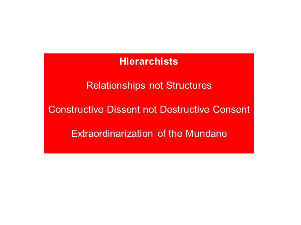 Hierarchists Relationships not Structures Constructive Dissent not Destructive Consent Extraordinarization of the Mundane