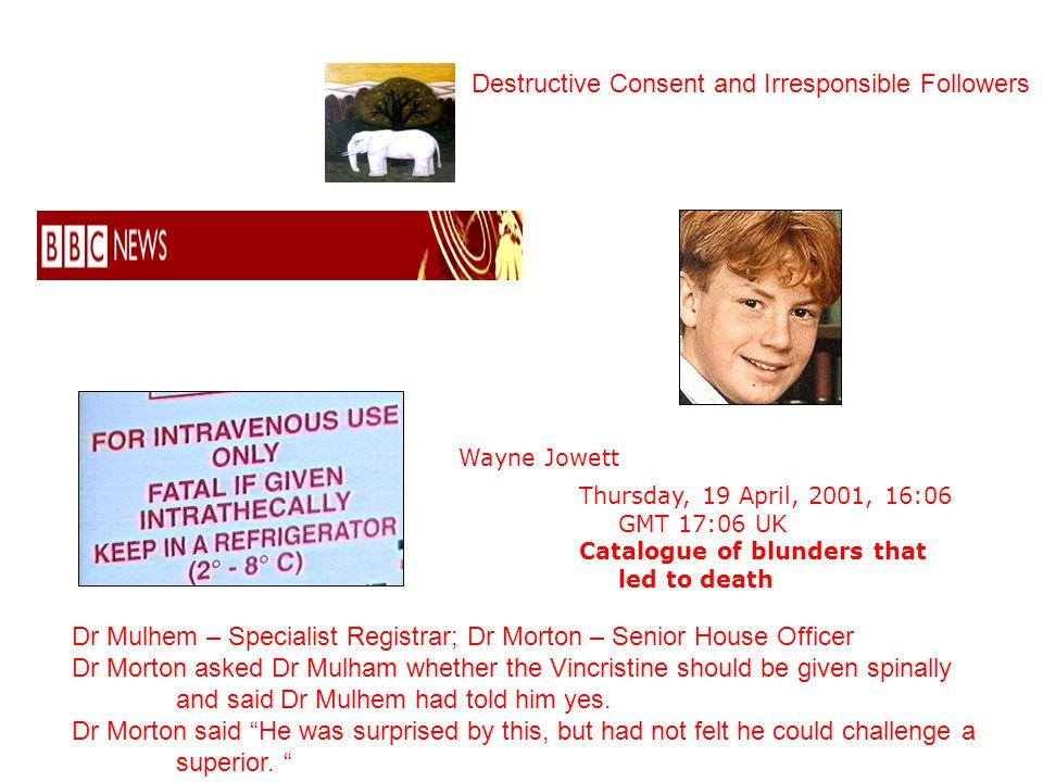 Wayne Jowett Thursday, 19 April, 2001, 16:06 GMT 17:06 UK Catalogue of blunders that led to death Dr Mulhem – Specialist Registrar; Dr Morton – Senior