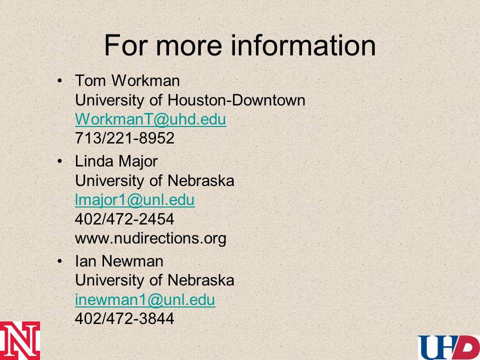 For more information Tom Workman University of Houston-Downtown WorkmanT@uhd.edu 713/221-8952 WorkmanT@uhd.edu Linda Major University of Nebraska lmajor1@unl.edu 402/472-2454 www.nudirections.org lmajor1@unl.edu Ian Newman University of Nebraska inewman1@unl.edu 402/472-3844 inewman1@unl.edu