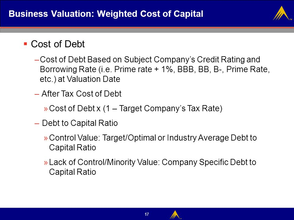 17 Business Valuation: Weighted Cost of Capital  Cost of Debt –Cost of Debt Based on Subject Company's Credit Rating and Borrowing Rate (i.e. Prime r