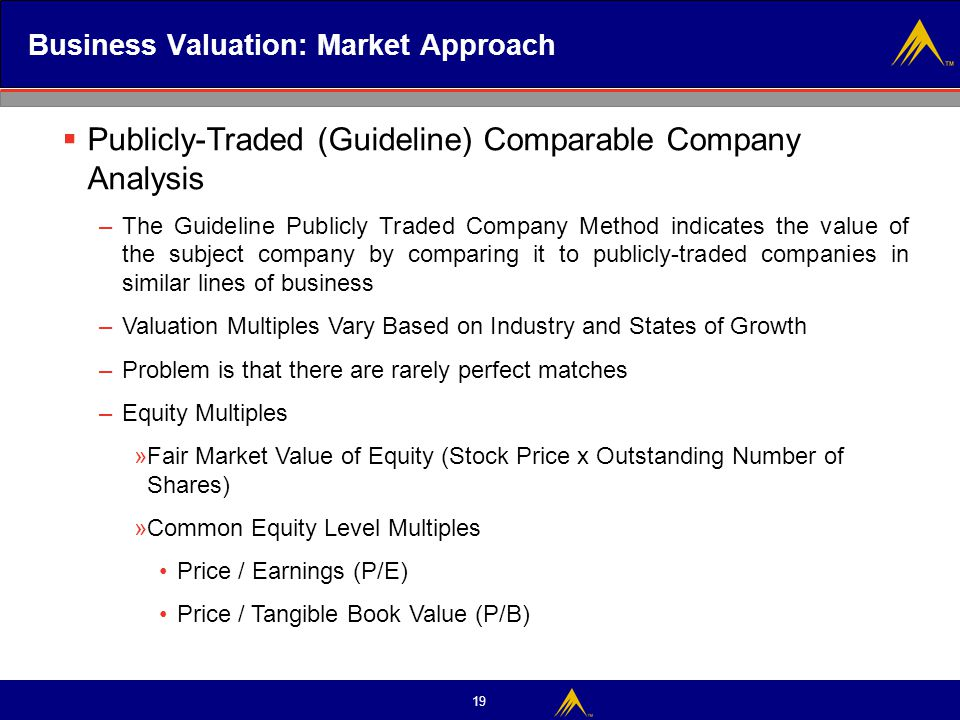 19 Business Valuation: Market Approach  Publicly-Traded (Guideline) Comparable Company Analysis –The Guideline Publicly Traded Company Method indicat