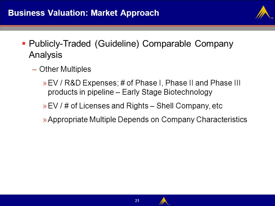 21 Business Valuation: Market Approach  Publicly-Traded (Guideline) Comparable Company Analysis –Other Multiples »EV / R&D Expenses; # of Phase I, Ph