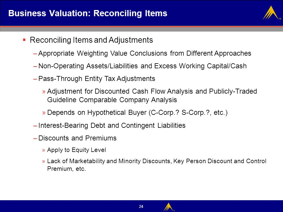 24 Business Valuation: Reconciling Items  Reconciling Items and Adjustments –Appropriate Weighting Value Conclusions from Different Approaches –Non-O