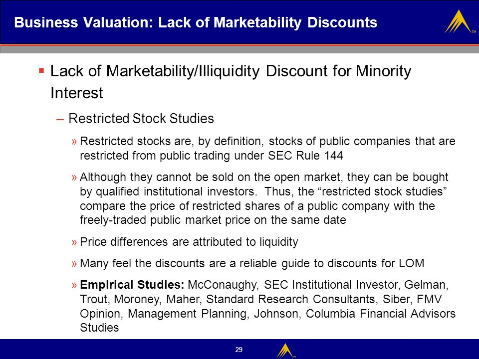 29 Business Valuation: Lack of Marketability Discounts  Lack of Marketability/Illiquidity Discount for Minority Interest – Restricted Stock Studies »