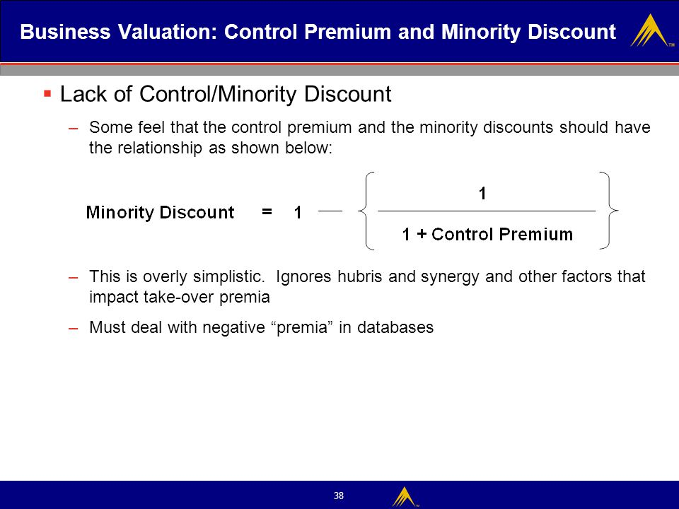 38 Business Valuation: Control Premium and Minority Discount  Lack of Control/Minority Discount –Some feel that the control premium and the minority