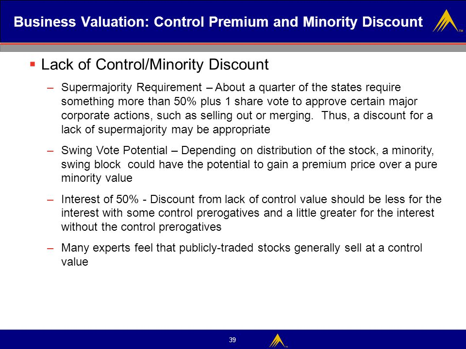 39 Business Valuation: Control Premium and Minority Discount  Lack of Control/Minority Discount –Supermajority Requirement – About a quarter of the s