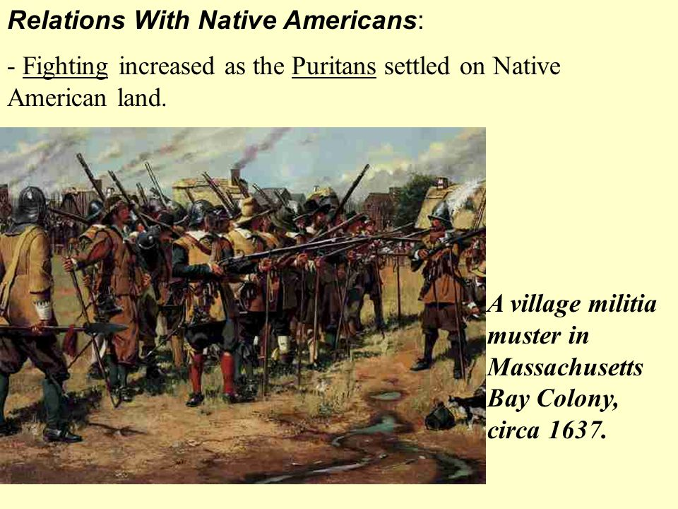 Relations With Native Americans: - Fighting increased as the Puritans settled on Native American land. A village militia muster in Massachusetts Bay C