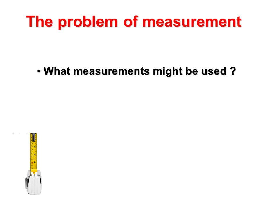 The problem of measurement What measurements might be used ? What measurements might be used ?