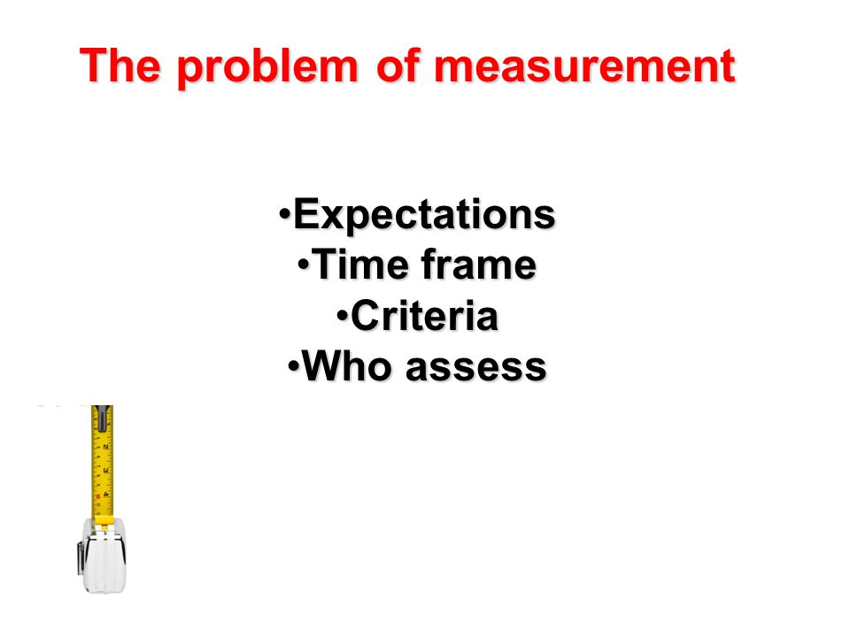The problem of measurement ExpectationsExpectations Time frameTime frame CriteriaCriteria Who assessWho assess