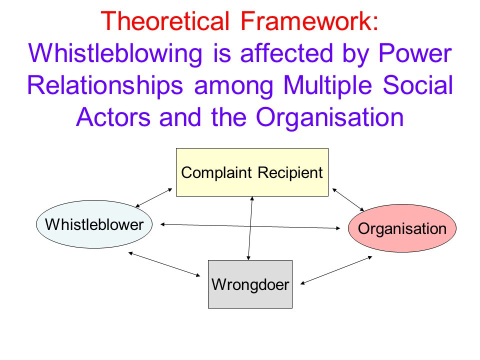 Theoretical Framework: Whistleblowing is affected by Power Relationships among Multiple Social Actors and the Organisation Whistleblower Wrongdoer Org