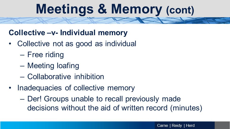 Carne | Reidy | Herd Meetings & Memory (cont) Collective –v- Individual memory Collective not as good as individual –Free riding –Meeting loafing –Collaborative inhibition Inadequacies of collective memory –Der.