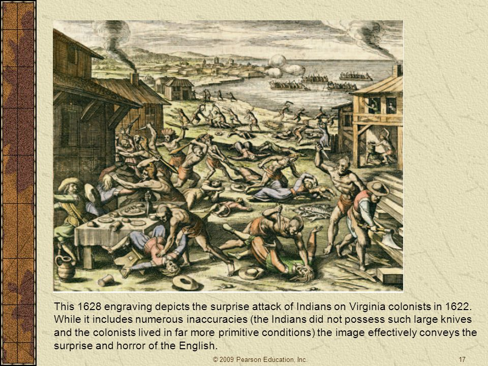 17 This 1628 engraving depicts the surprise attack of Indians on Virginia colonists in 1622.