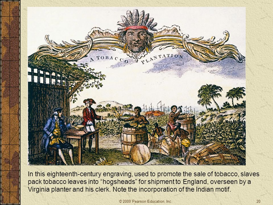 In this eighteenth-century engraving, used to promote the sale of tobacco, slaves pack tobacco leaves into hogsheads for shipment to England, overseen by a Virginia planter and his clerk.