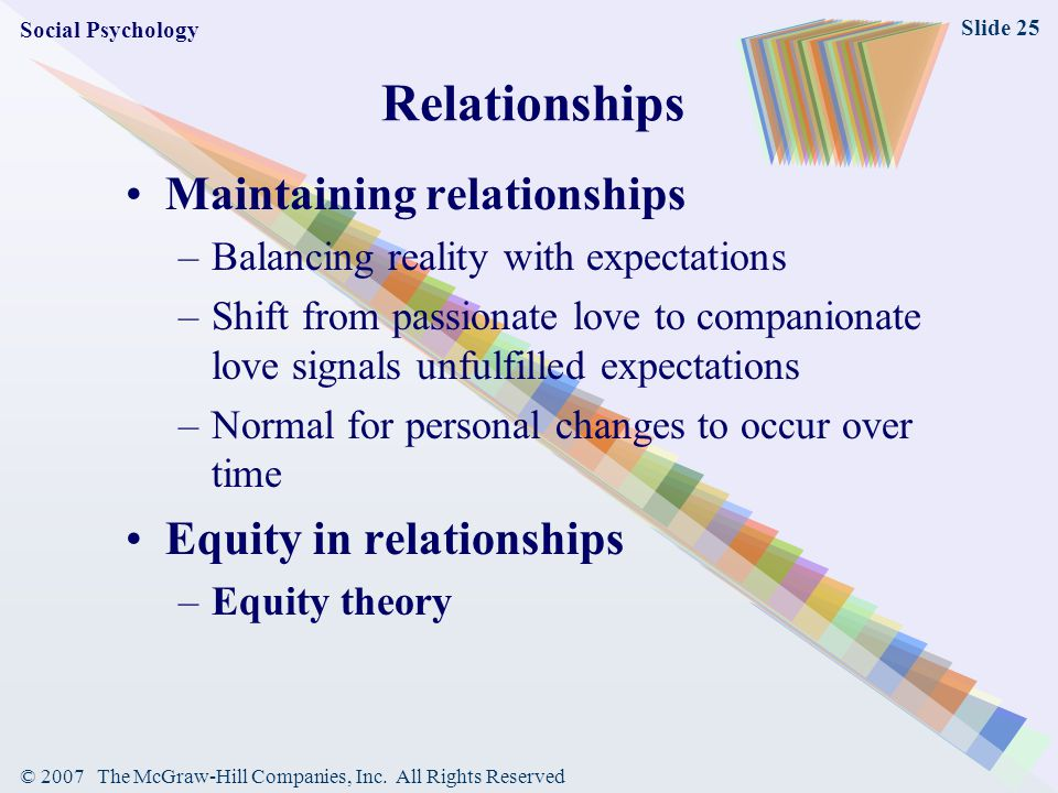© 2007 The McGraw-Hill Companies, Inc. All Rights Reserved Slide 25 Relationships Maintaining relationships –Balancing reality with expectations –Shif