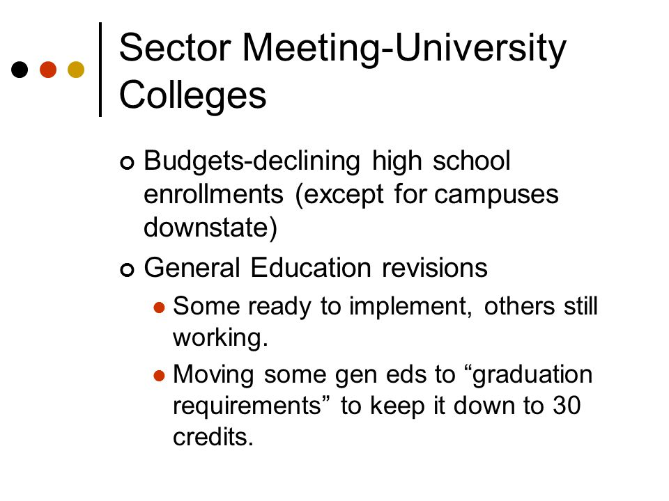 Sector Meeting-University Colleges Budgets-declining high school enrollments (except for campuses downstate) General Education revisions Some ready to implement, others still working.