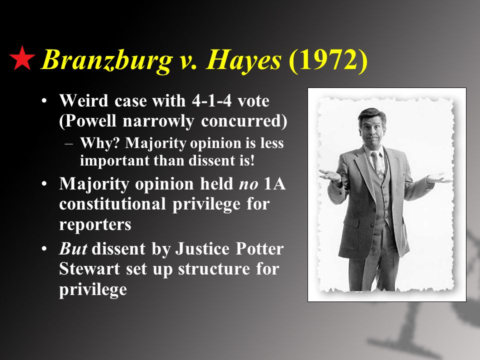 Branzburg v. Hayes (1972) Weird case with 4-1-4 vote (Powell narrowly concurred) –Why.