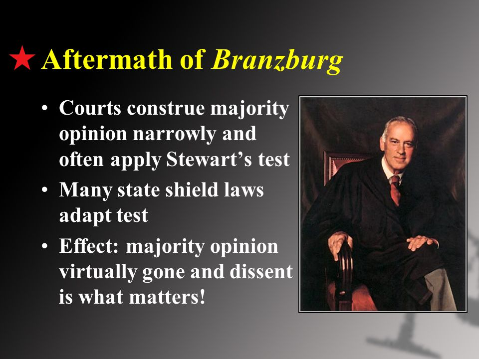Aftermath of Branzburg Courts construe majority opinion narrowly and often apply Stewart's test Many state shield laws adapt test Effect: majority opinion virtually gone and dissent is what matters!
