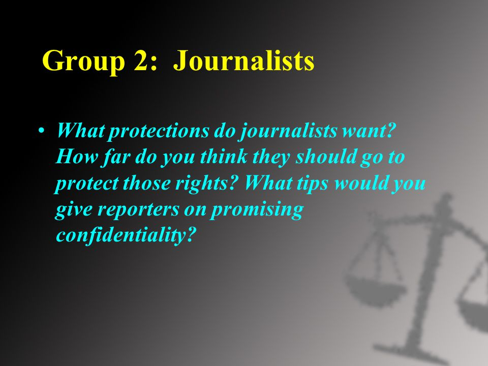 Group 2: Journalists What protections do journalists want.
