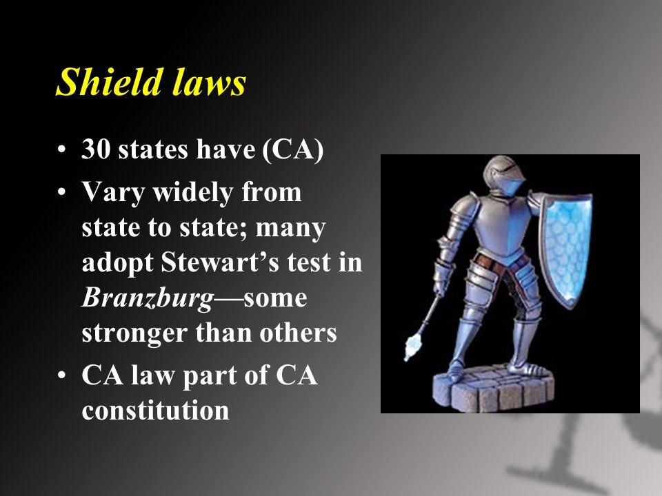Shield laws 30 states have (CA) Vary widely from state to state; many adopt Stewart's test in Branzburg—some stronger than others CA law part of CA constitution