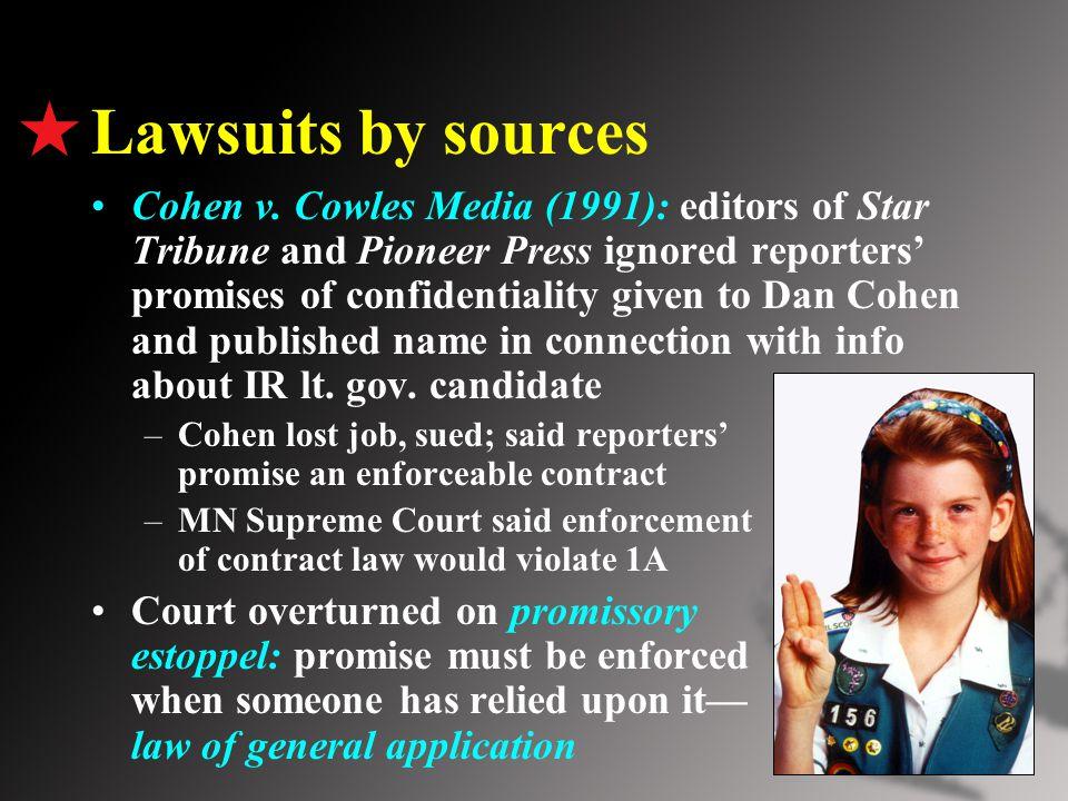 Lawsuits by sources Cohen v.