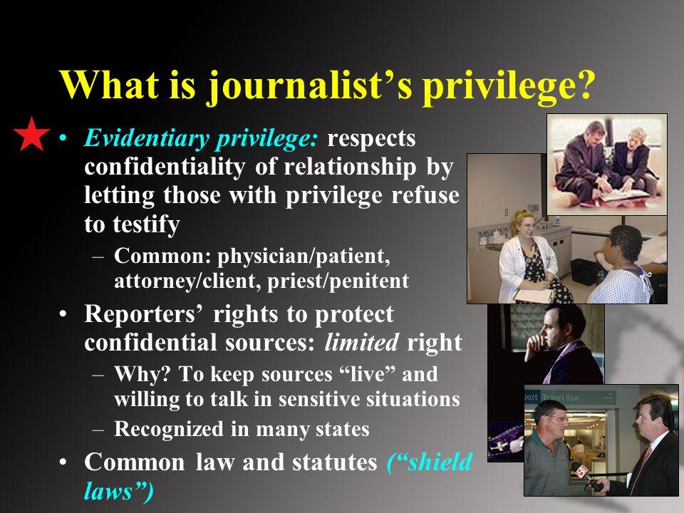 What is journalist's privilege.