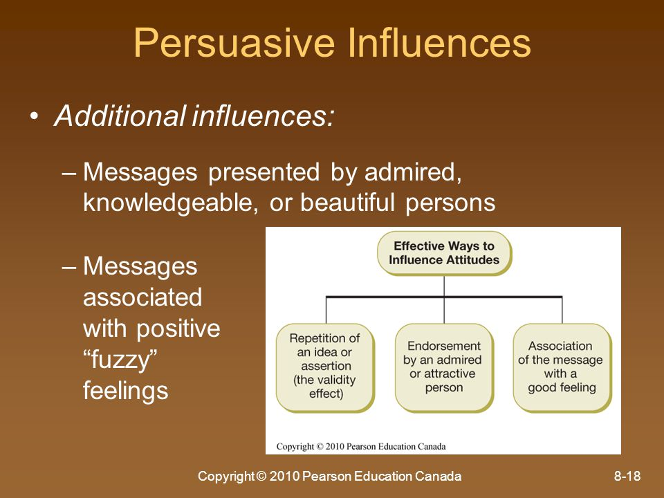 Copyright © 2010 Pearson Education Canada8-18 Persuasive Influences Additional influences: – –Messages presented by admired, knowledgeable, or beautif
