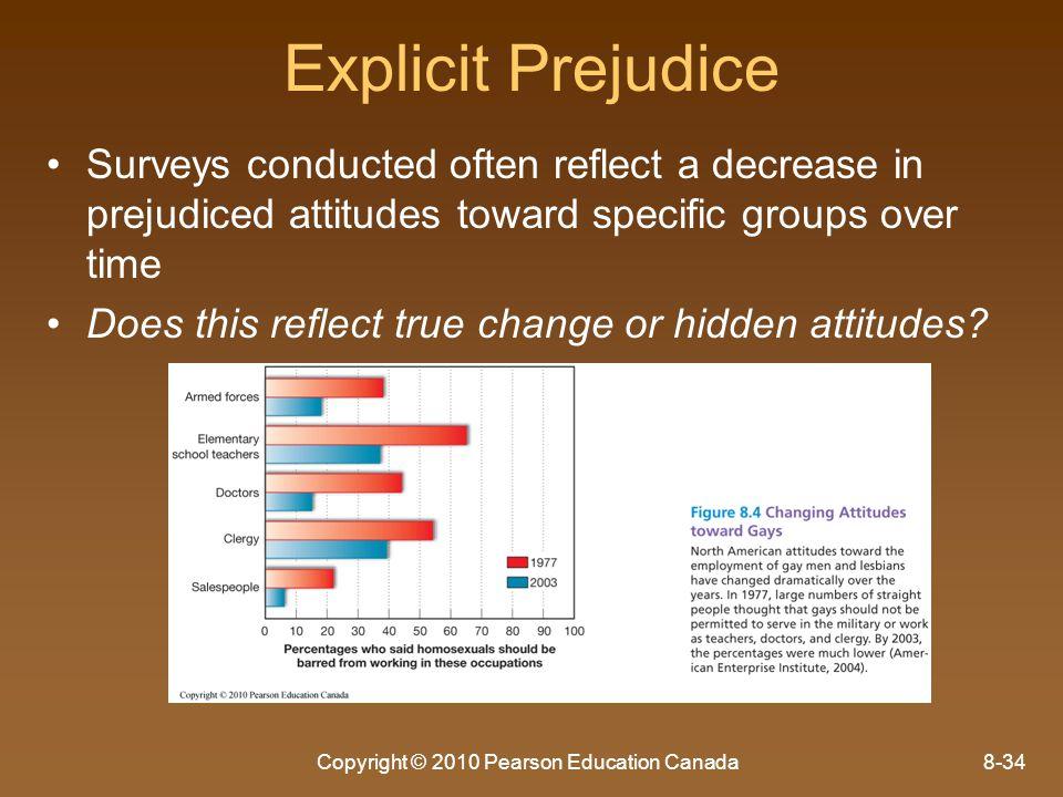 Copyright © 2010 Pearson Education Canada8-34 Explicit Prejudice Surveys conducted often reflect a decrease in prejudiced attitudes toward specific gr