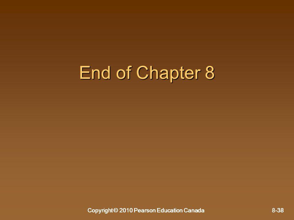 Copyright © 2010 Pearson Education Canada8-38Copyright © 2010 Pearson Education Canada-38 End of Chapter 8 Copyright © 2010 Pearson Education Canada-3