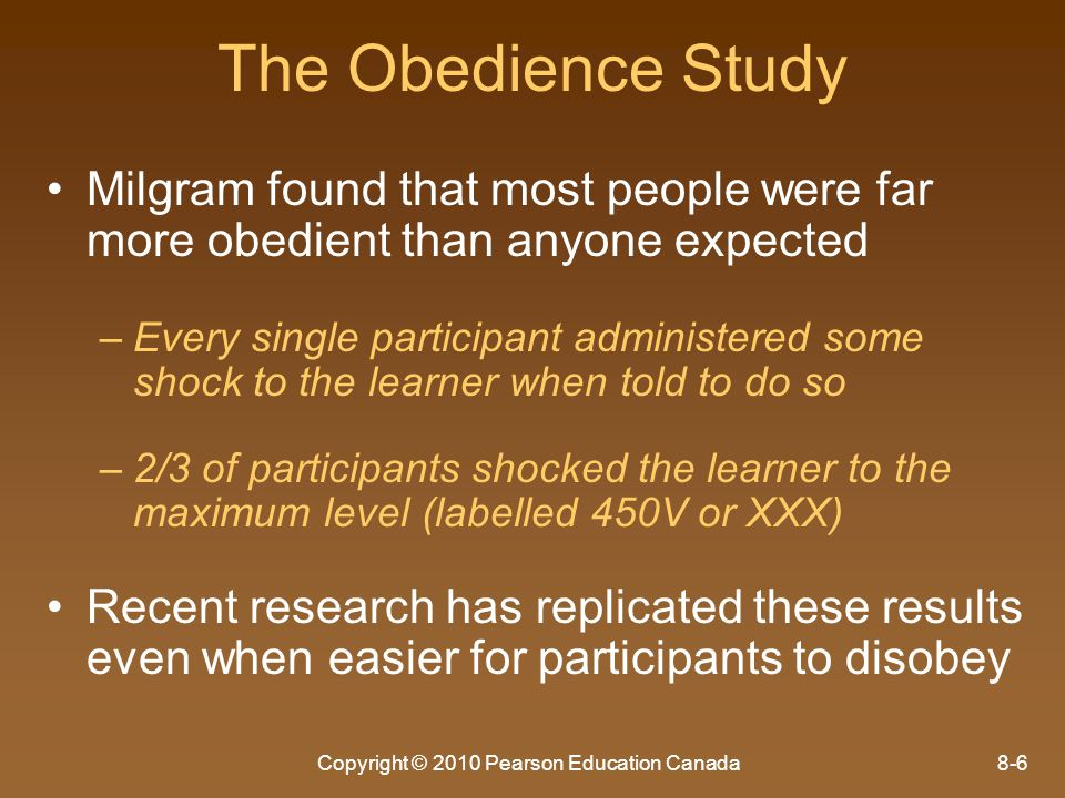 Copyright © 2010 Pearson Education Canada8-7 Factors Leading to Disobedience 1.