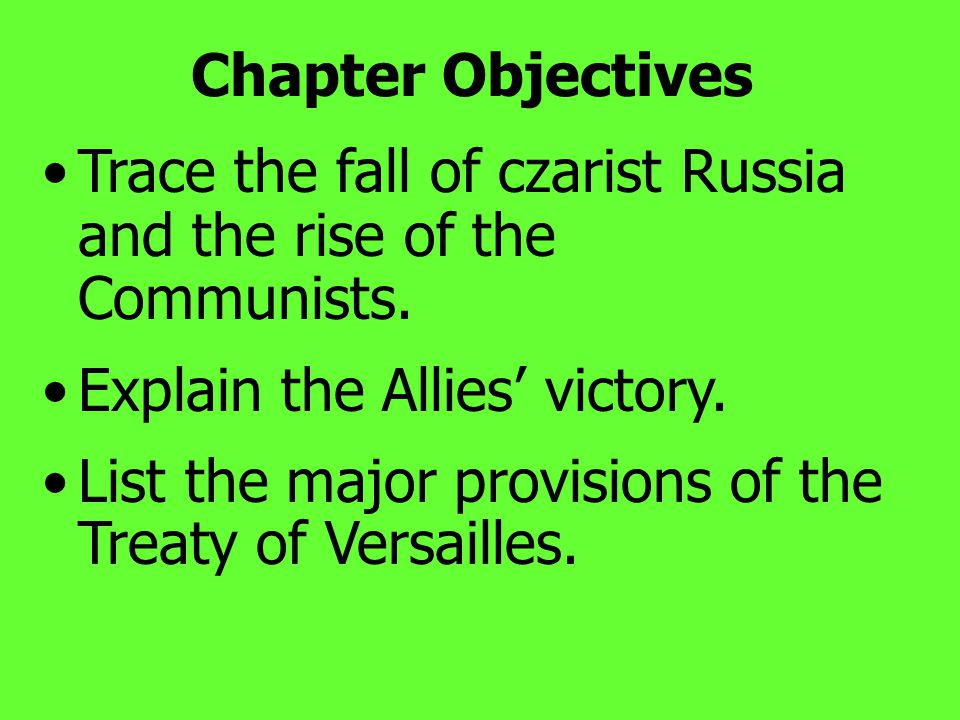"Chapter Objectives Explain innovations in warfare. Explain what is meant by ""total war"" and its effects on society."