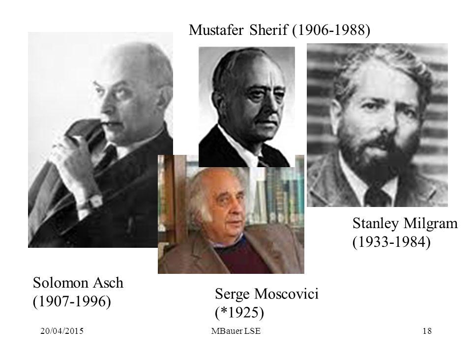 20/04/2015MBauer LSE18 Solomon Asch (1907-1996) Stanley Milgram (1933-1984) Serge Moscovici (*1925) Mustafer Sherif (1906-1988)