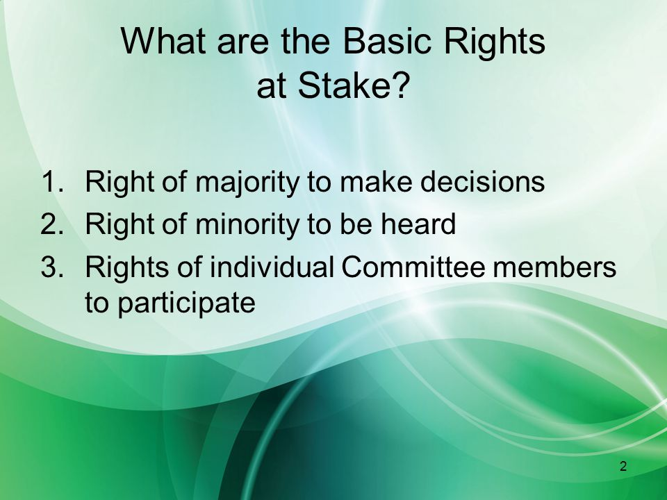 3 Individual Member Rights To receive meeting notification and attend all meetings To introduce and second motions To speak on agenda items after first seeking recognition of chair To vote